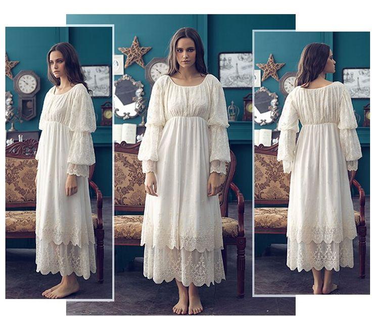 Бесплатная доставка 2015 новых осенью высокое качество женщин длинные ночные рубашки бежевый Pijamas кружева вышивка пижамы старинные ночной рубашке купить на AliExpress