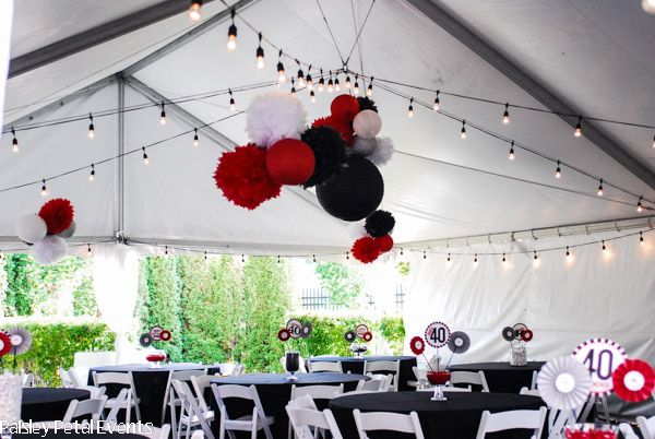 Paisley Petal Events 40th Birthday Party Tent Decor