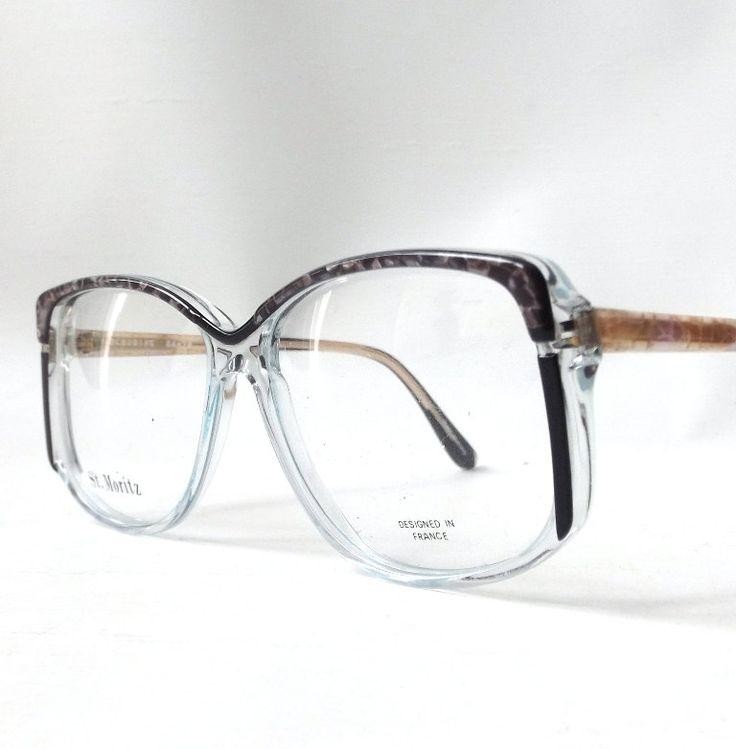vintage 1980's NOS eyeglasses oversized grey marble black clear plastic frames prescription womens eyewear retro eye glasses modern new pink by RecycleBuyVintage on Etsy