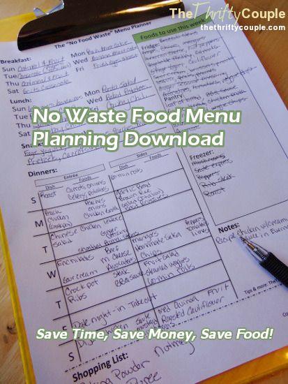 Free Weekly Menu Planner Download - No Food Waste Planner