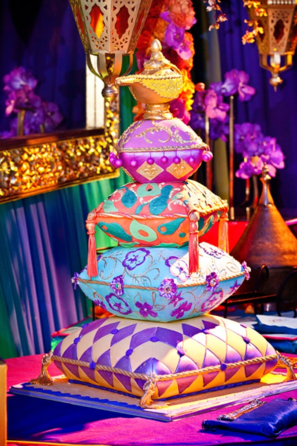 Cake fashioned to look like pillows topped with a genie bottle. Special Cakes by Ruben, Los Angeles, CA; Photography: Dina Douglass, Andrena Photography, Los Angeles, CA c/o Grace Ormonde Wedding Style