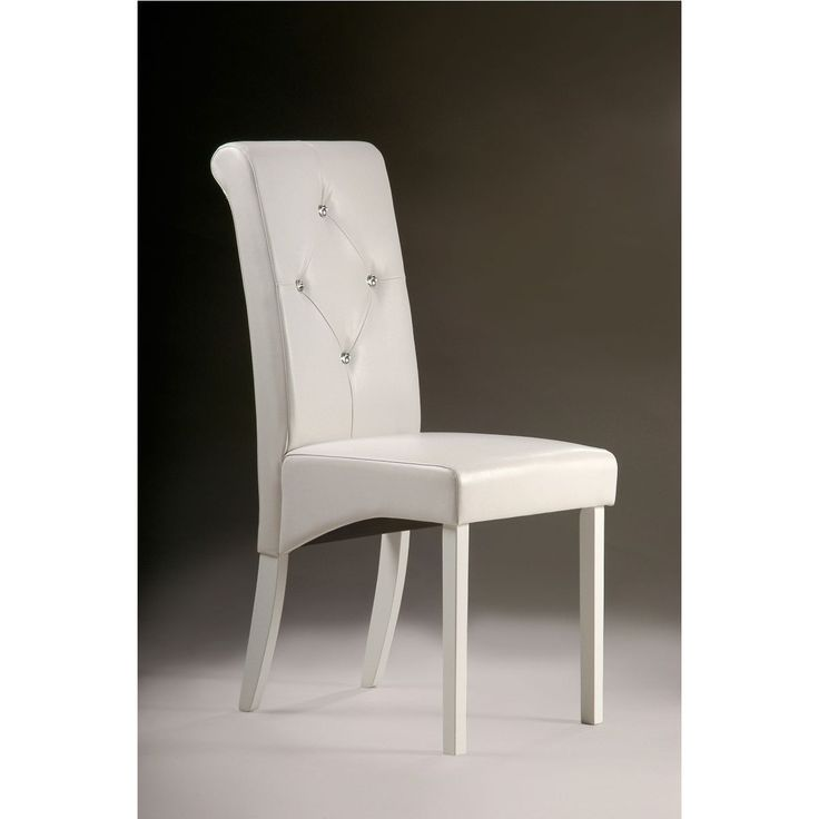 These elegant white dining room chairs will add class to any dining room set. The chairs feature high padded backs for ultimate support and comfort. The white leather will match with many styles of furniture. The set includes eight great chairs.