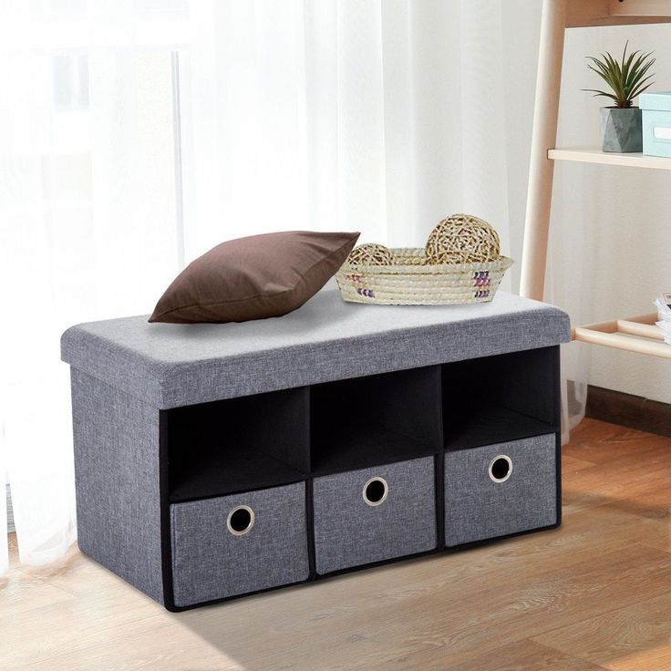 Foldable Ottoman Bench 3 Drawers Grey Colour Wooden Storage Hallway Furniture