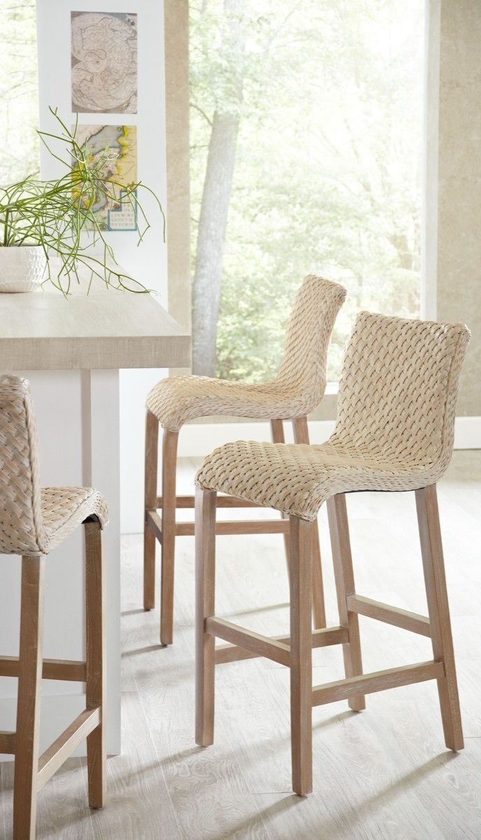 Ohhhh I Love These Not Sure About The Wood Stain Tho Sanders Wicker Barstools And Get A New Feel For Wicker Bar Stools Bar Stool Furniture Rattan Bar Stools
