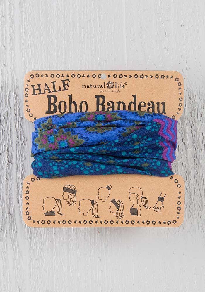 BRAND NEW Natural Life Half Boho Headbands Bandeau ~ Purple and Blue Stripe