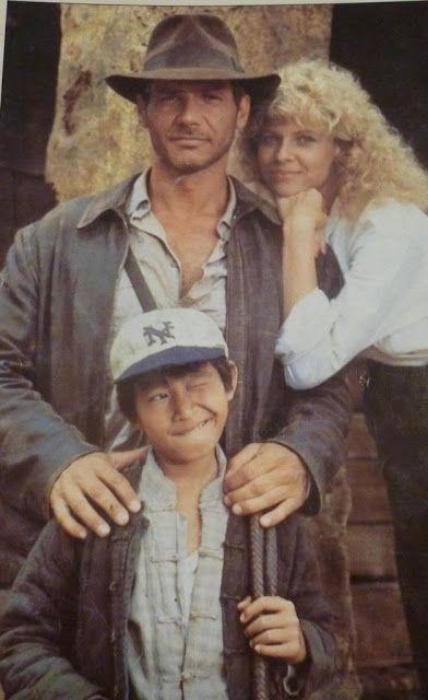Harrison Ford, Jonathan Ke Quan & Kate Capshaw behind the scenes on #IndianaJones and the Temple of Doom (1984).