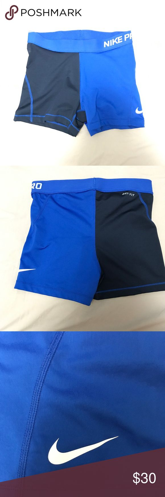 """Nike Pro Women's 3"""" Training Shorts Nike Pro with dri-fit technology training shorts.  Half navy, half royal blue.   Worn once or twice, in perfect like-new condition! Nike Shorts"""