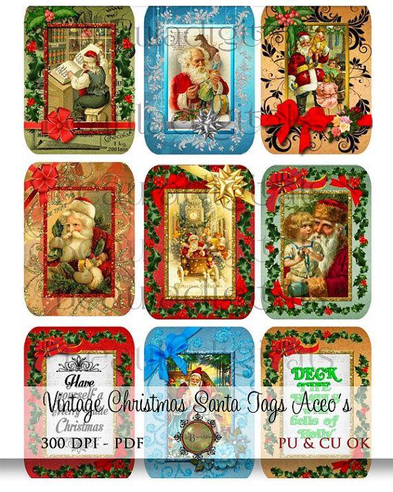 Vintage Style Christmas Santa Gift Tags  ATC  by Beauladigitals