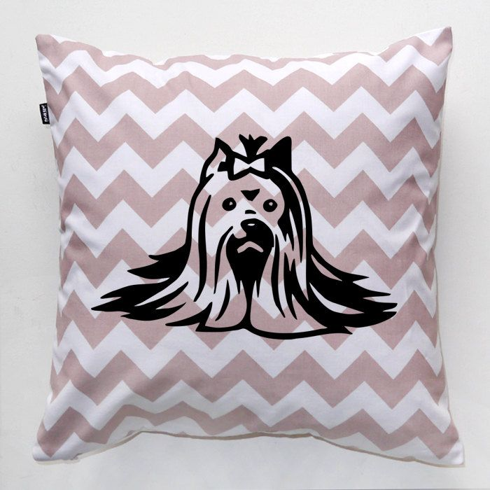 Yorkie Pillow, Yorkshire Terrier Dog Chevron Decorative Cushion, Yorkie Mom, dog lover gift, Beauty yorkie in handmade, Psiakrew by PSIAKREW on Etsy
