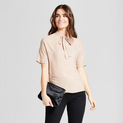 Women's Short Sleeve Printed Foil Sparkle Blouse - Layered with Love Gold : Target