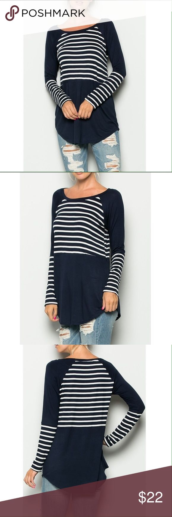 Navy Long Sleeve Top with Stripes 95% Rayon 5% Spandex. Also available in Burgundy and Olive colors. No trades. Tops