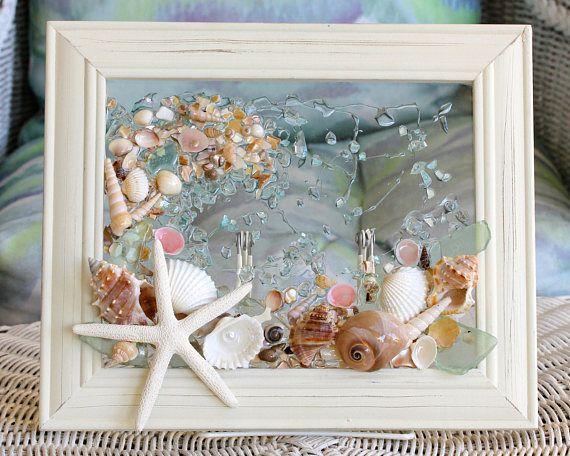 Beach Glass Shell Art Beach Bathroom Decor Bathroom Wall