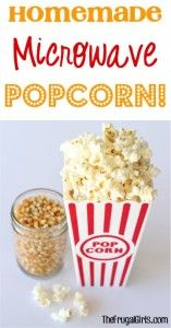 Easy Homemade Microwave Popcorn Trick from TheFrugalGirls.com