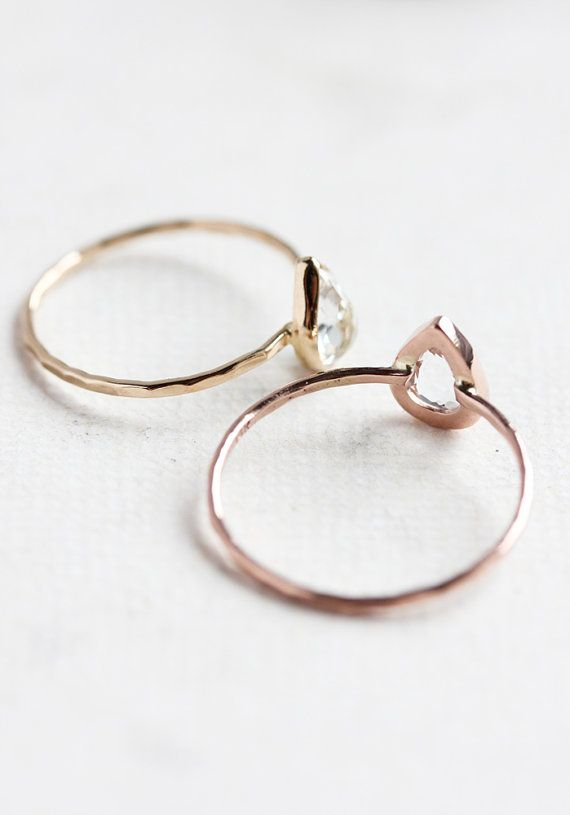 White topaz gold ring, rose gold, yellow gold, white gold, pear cut, delicate, solid 14k gold thin stacking ring, eco friendly, engagement   { D e