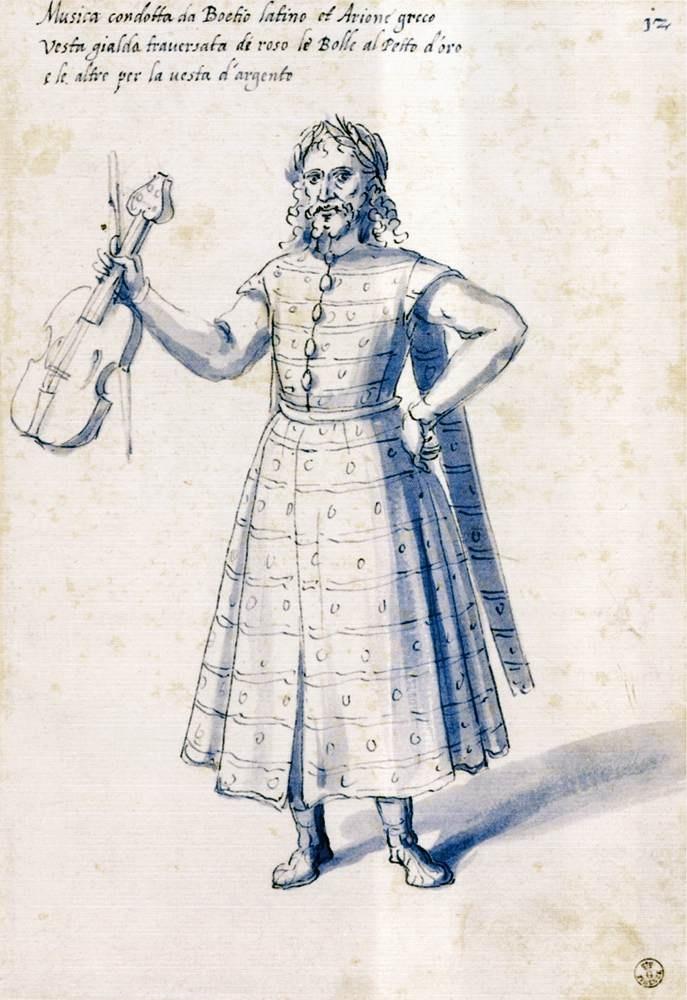 "ARCIMBOLDO, Giuseppe Costume of the allegorical figure ""Music"" 1585 Pen, blue wash on white paper, 303 x 204 mm Galleria degli Uffizi, Florence"