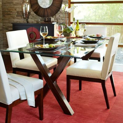 Bennett Dining Table Base - Mahogany for eat in kitchen...only with chocolate leather chairs