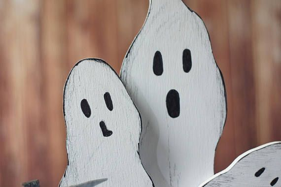 Please Read item details and shipping/policies Reclaimed Wood Ghosts. Rustic Primitive Halloween Décor. Hand Painted Faces are painted on one side only. - NOT vinyl Stickers! Faces May vary, If you would like a specific expression(s) Please Convo Me. Solid Wood Shelf Sitters Display