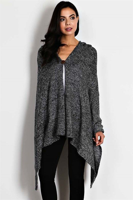 Hooded Sweater Cape Button Closure