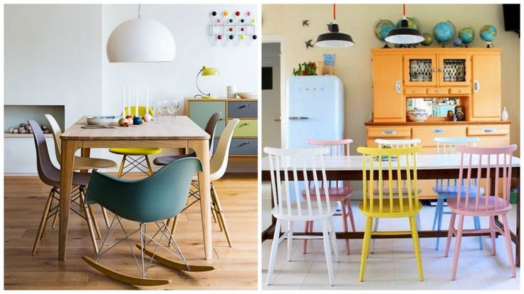 chaises dépareillées - Salle à manger : chaises Eames, chaises scandinaves... Jouer sur les couleurs et les formes.