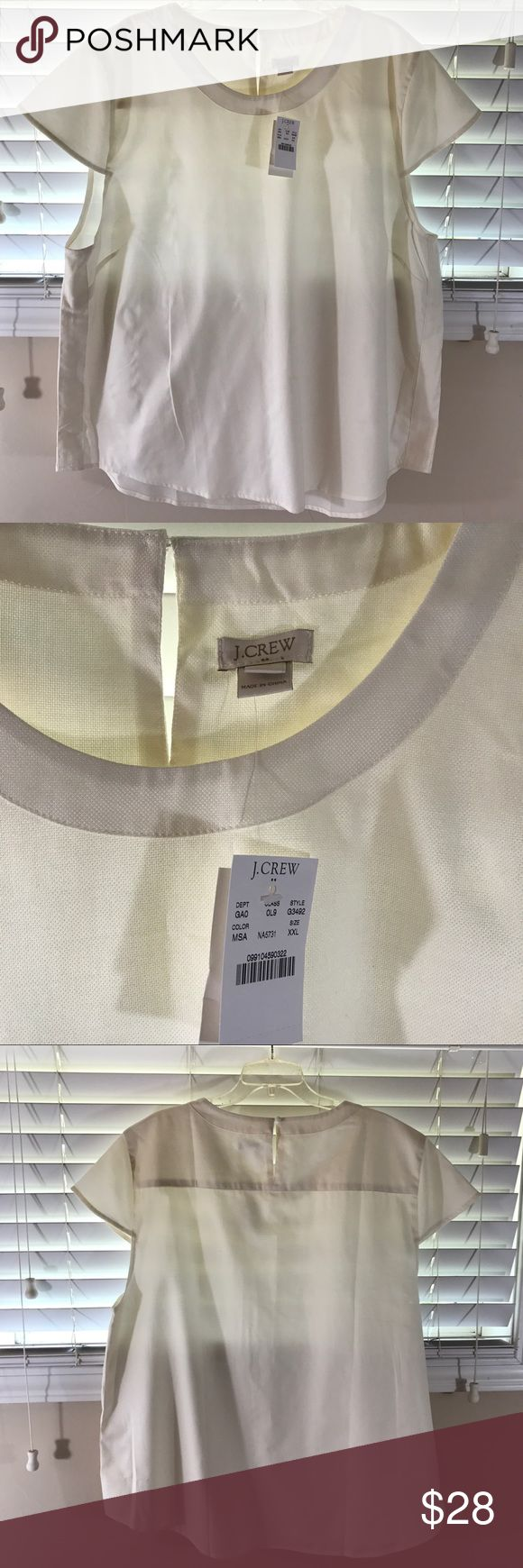 NWT J.Crew blouse - size XXL NWT | cream | cap sleeves | sheer J. Crew Tops Blouses
