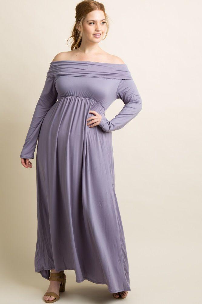 c2fca168d2 A solid long sleeve plus size maxi dress. Foldover off shoulder neckline.