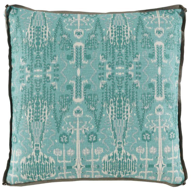 Lacefield Aqua Ikat Bombay Mist Pillow