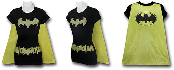 Supergirl, Wonder Woman, Batgirl, and Robin Caped Costume Shirts