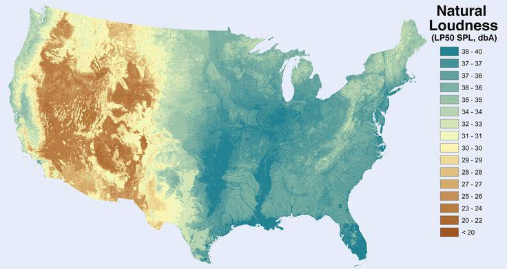 noise level from natural sources excluding humans and human activity in the united states