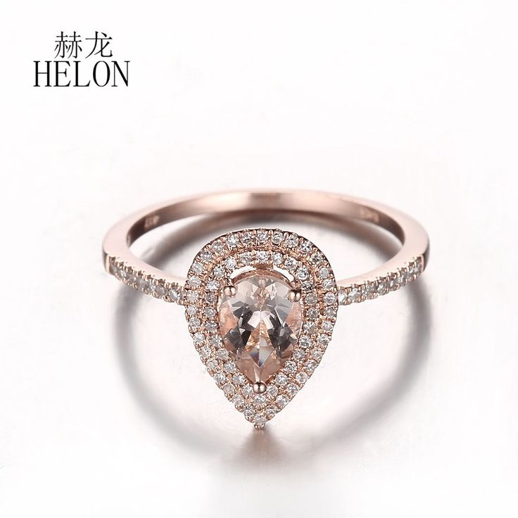 <b>HELON</b> Worth It!10K Rose Gold Pear 0.52 ct Morganite <b>Pave</b> ...