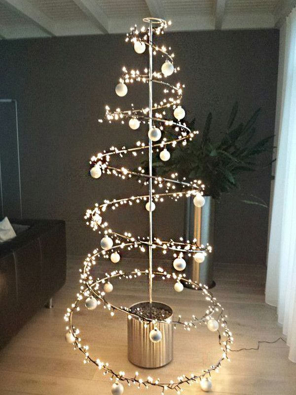 17 Ideas Para Colocar Un árbol De Navidad Totalmente Fuera De Lo Común árbol De Navidad Con Luces árbol De Navidad Espiral Arbol De Navidad Original