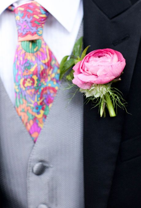 Love this stand-alone pink peony with a punchy Pucci-esque tie (Jonathan Young with Tanya Salazar)