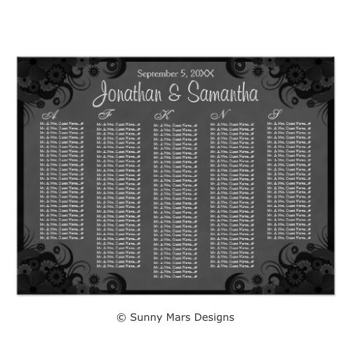 Dark Gray or Grey and Black Hibiscus Floral Custom Printed Gothic Wedding Table Seating Charts by sunnymars of SunnyMarsDesigns. Sits 150 people and/or couples. Click to see this design on more seating chart styles that are available from 8 tables to 16 tables.