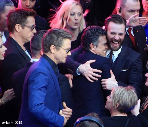 Mark Ruffalo and Chris Evans hugging it out on the Avengers: Age of Ultron red carpet