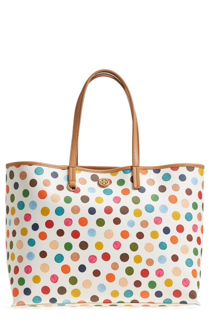 Love this colorful, lively polka-dot Tory Burch tote.