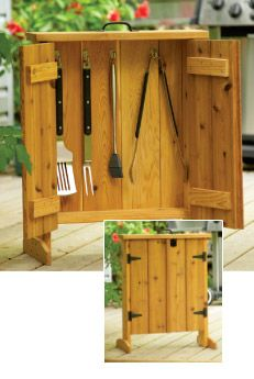 This cedar barbecue tool cabinet is an attractive and practical addition to your patio or deck. It is easy to build, requires minimal material, and is light and portable. #FathersDay