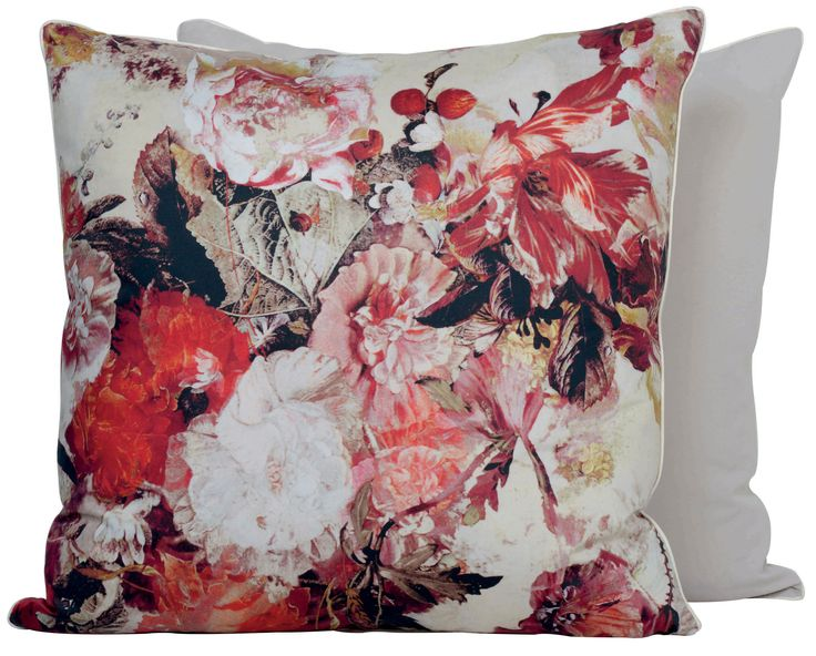 Floral designer pillow by Jean Paul Gaultier. www.kenisahome.com
