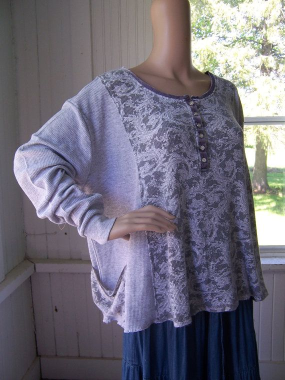 Reconstructed Tunic T Shirt Big Top Light by SWEETBEARIESVINTAGE, $59.00