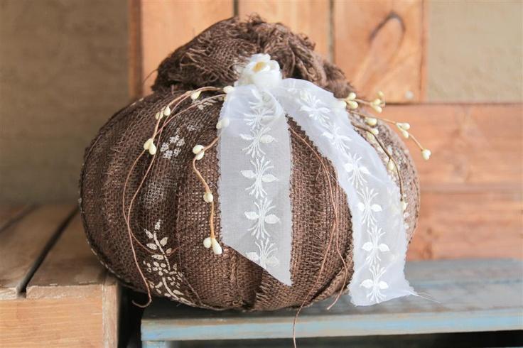 Hand Stenciled Burlap Pumpkin - Chocolate Brown - Vintage Ribbon - FALL Decor - Autumn Wedding - N EXCLUSIVE - Treasury Item. $32.99, via Etsy.