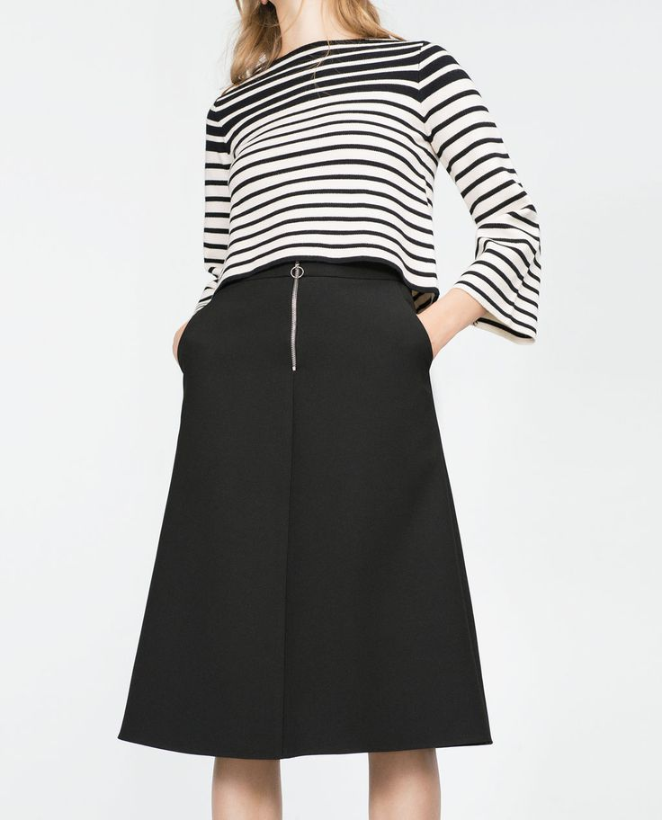 Image 2 of BELLED SLEEVE STRIPED SWEATER from Zara