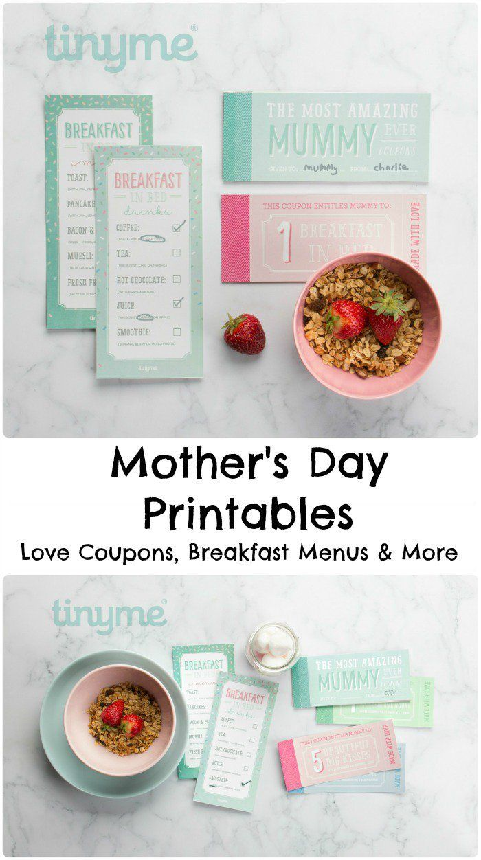 Mothers day printables including breakfast menus for breakfast in bed, a coupon book to exchange for hugs and kisses, and more