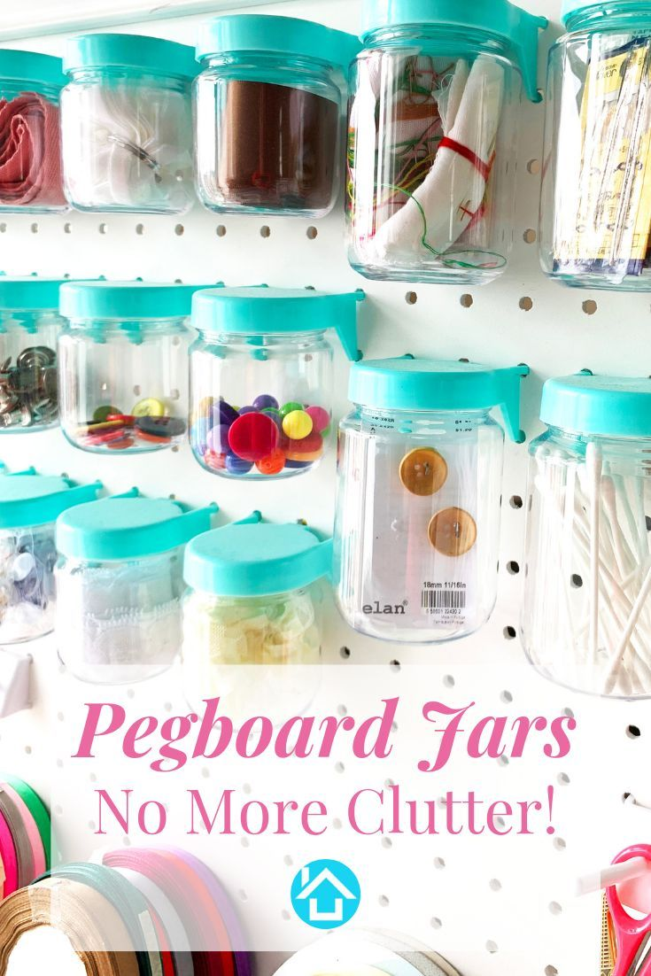 Pegboard Jars Perfect For Organizing Your Craft Room Or Garage Set Of 12 Blue Pegboard Craft Room Craft Room Organization Craft Room