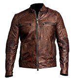 Cafe Racer Leather Jacket for Men Biker Vintage Leather Wax Jackets Slimfit Motorcycle Leather Jacket (M)