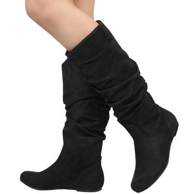 Awesome Home  Daniel  Daniel Black Suede POTENT Womens Flat Knee Boot