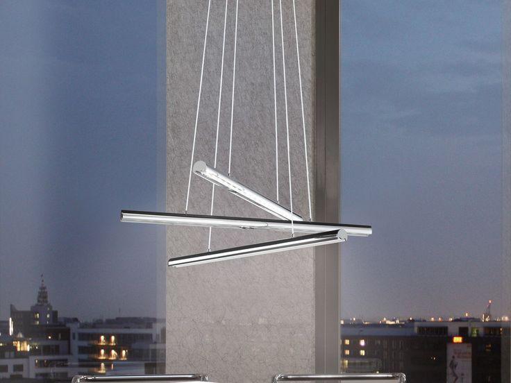Caractéristiques techniques : Suspension triple barre LED Terros Matière : acier Finition : chromé Dimensions : Hauteur : 110 cm Diamètre : 58 cm ...