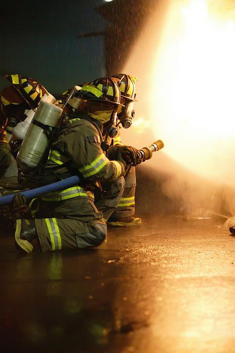 Firefighter spraying down the flames, #firefighter, #firefighting #adrenaline, #HIPFineArt