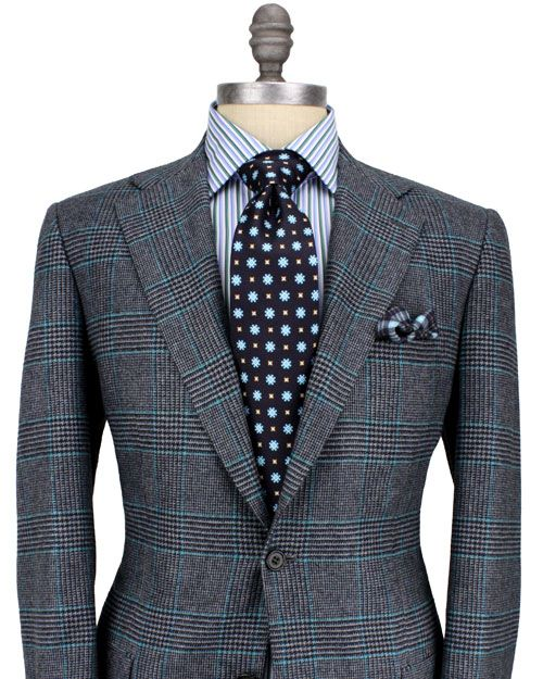 Kiton Grey Glen Plaid with Turquoise Windowpane Sportcoat