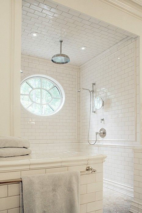 White subway tile walk in shower  no glass  circular window  tiled ceiling. 1000  ideas about Window In Shower on Pinterest   Shower window