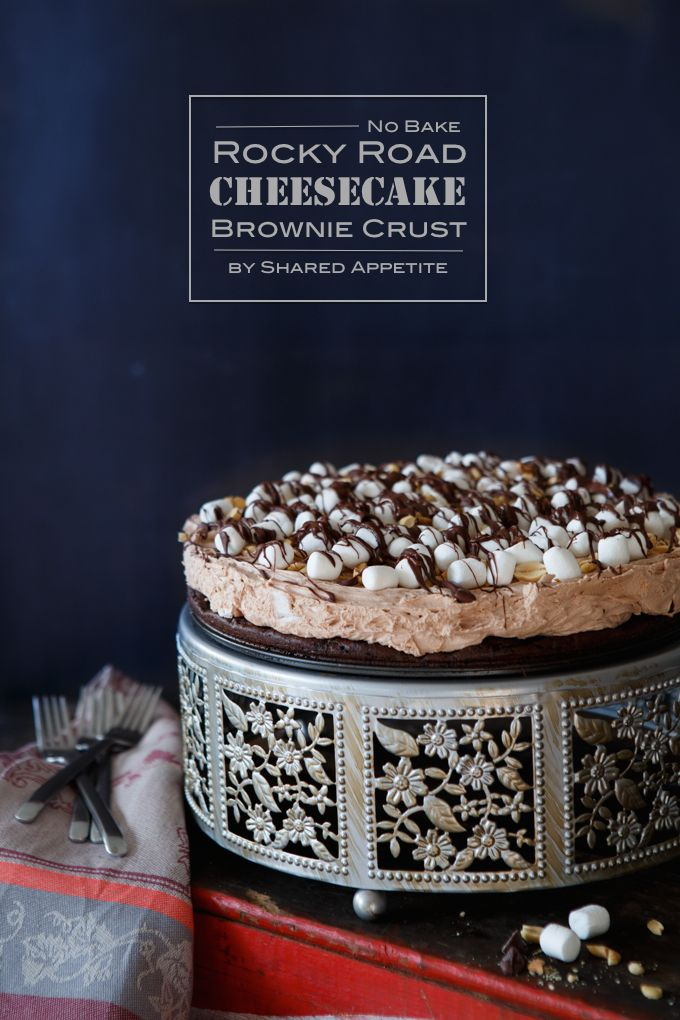 No Bake Rocky Road Cheesecake with a Brownie Crust