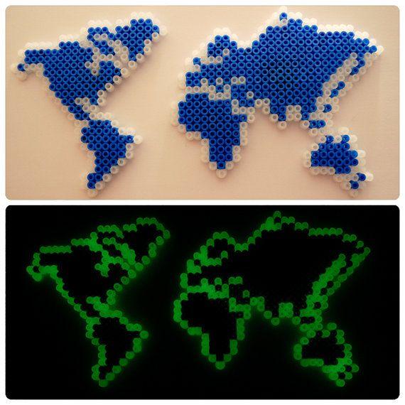 The world magnet   Glow in the dark   Hama beads