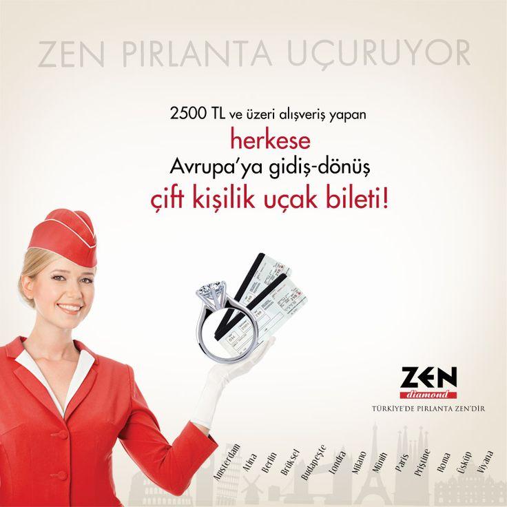 2500 TL ve üzeri alışveriş yapan herkes, Zen Pırlanta'dan Avrupa'ya gidiş-dönüş uçak bileti kazanıyor! Zen Pırlanta, #Espark 1.katta.